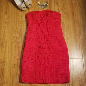 Cache Red Ruched Strap or Strapless Dress 4